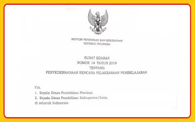 Surat Edaran Nomor 14 Tahun 2019 tentang Penyederhaan RPP